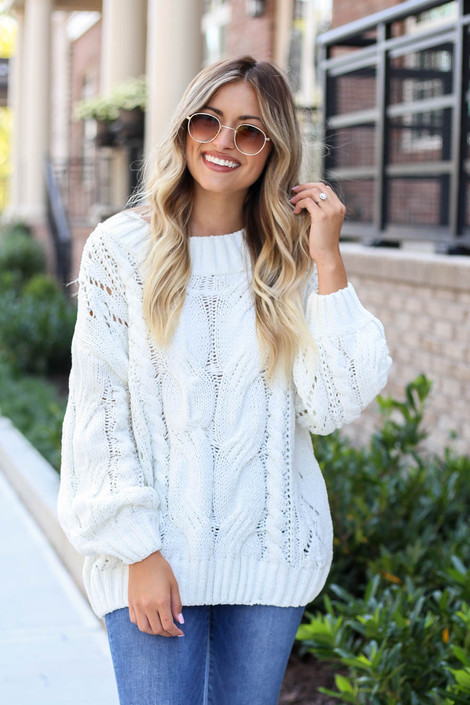 Ivory - Cable Knit Chenille Sweater