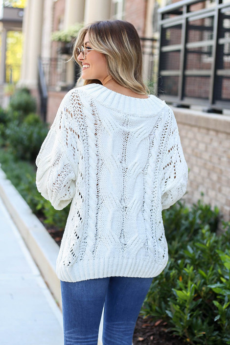 Model wearing Ivory Cable Knit Chenille Sweater Back View