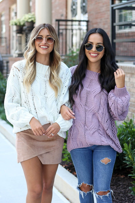Model wearing White + Lilac Cable Knit Chenille Sweater