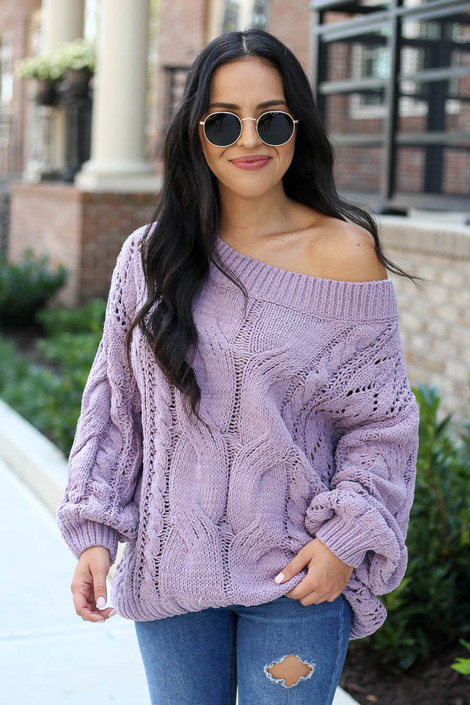 Model wearing Lilac Cable Knit Chenille Sweater