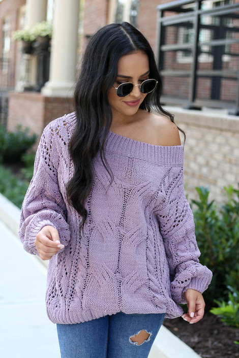 Lilac - Cable Knit Chenille Sweater