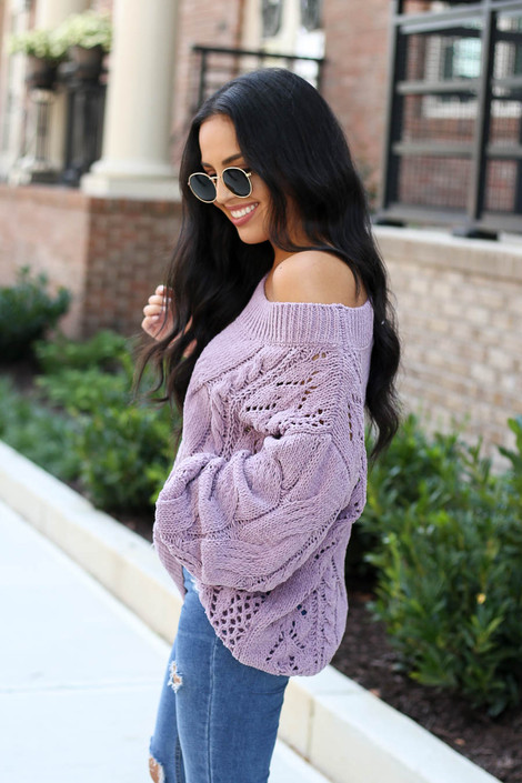 Model wearing Lilac Cable Knit Chenille Sweater Side View