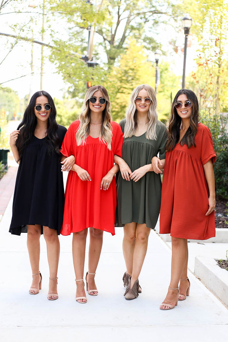 Models wearing Black, Red, Olive, and Rust Babydoll Dresses