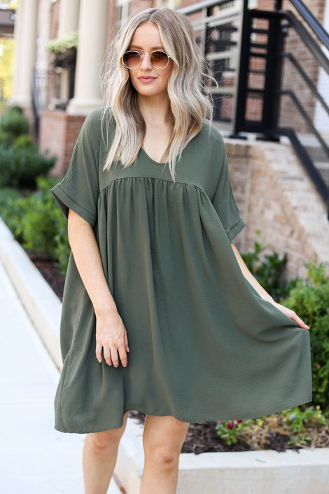 Model wearing Olive Babydoll Dress