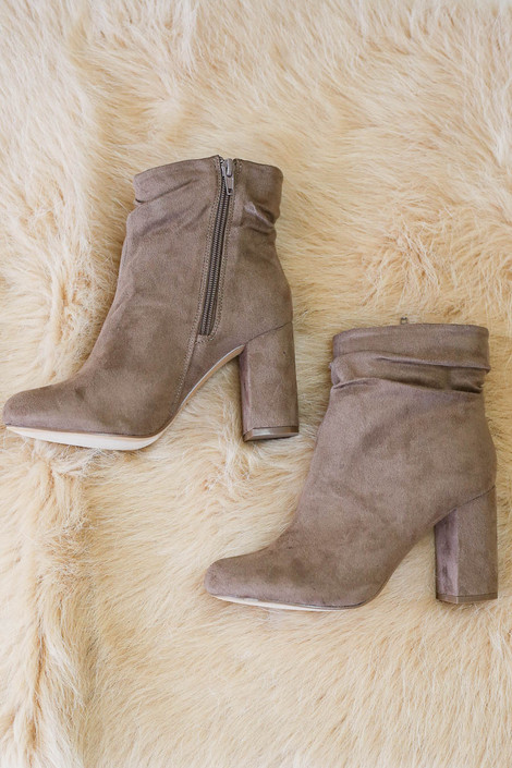 Taupe Block Heel Slouch Booties Flat Lay