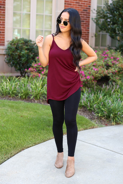 Model wearing Black High-Waisted Leggings Front View