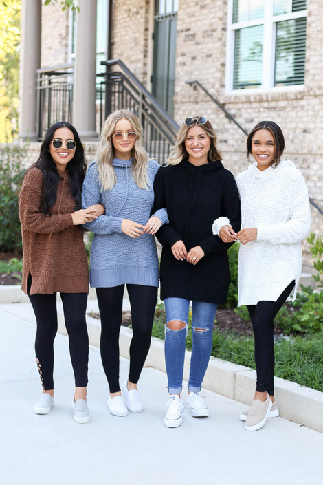 Models wearing Black, Ivory, Mocha, and Denim Oversized Popcorn Knit Hoodies