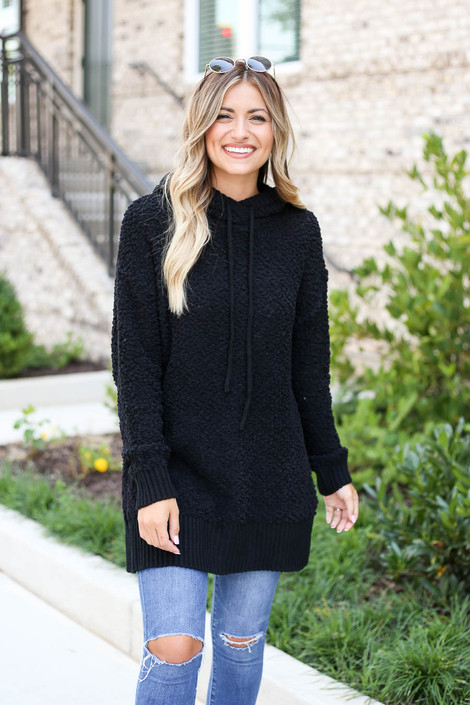 Model wearing Black Oversized Popcorn Knit Hoodie
