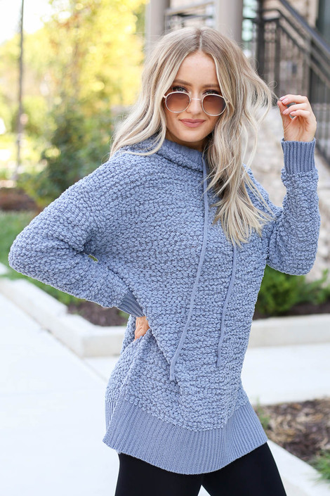 Denim - Oversized Popcorn Knit Hoodie Side View