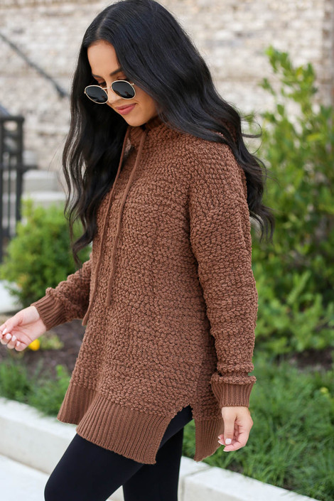 Model wearing Mocha Oversized Popcorn Knit Hoodie Side View