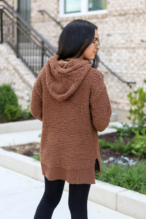 Mocha - Oversized Popcorn Knit Hoodie Back View