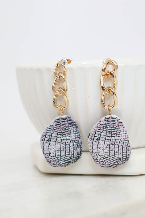 Snake - Croc Print + Chain Statement Earrings on Bowl