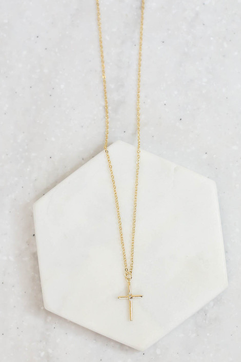 Gold - Cross Necklace Flat Lay