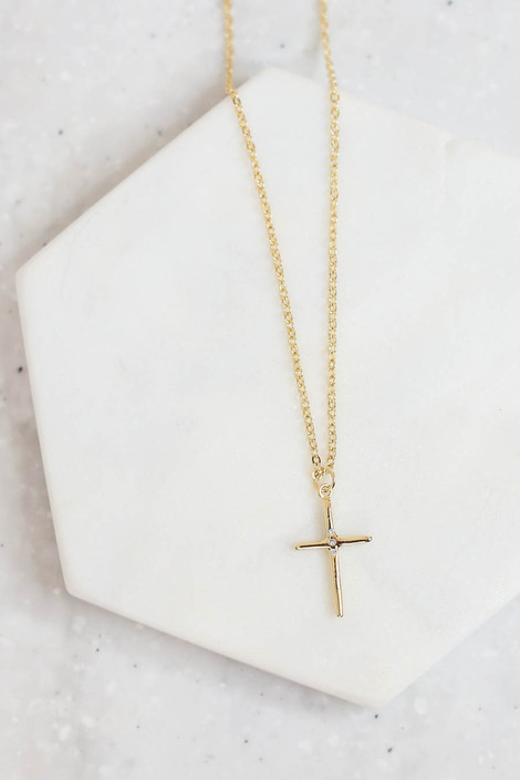 Gold - Cross Necklace Flat Lay Detail View
