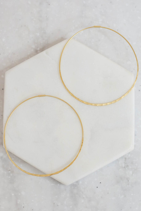 Gold - Hammered Hoop Earrings Flat Lay