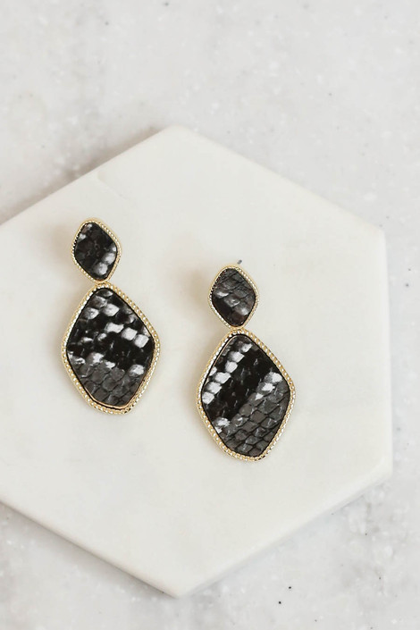 Black - Snakeskin Print Statement Earrings Flat Lay