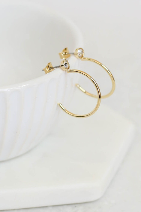 Gold - Open Back Rhinestone Hoop Earrings on Bowl