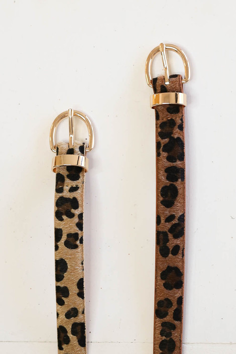 Brown - and Taupe Skinny Leopard Print Belts Flat Lay