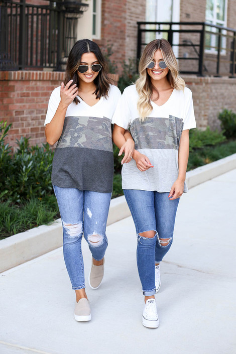 Models wearing Heather Grey and Charcoal Color Block Camo Tops