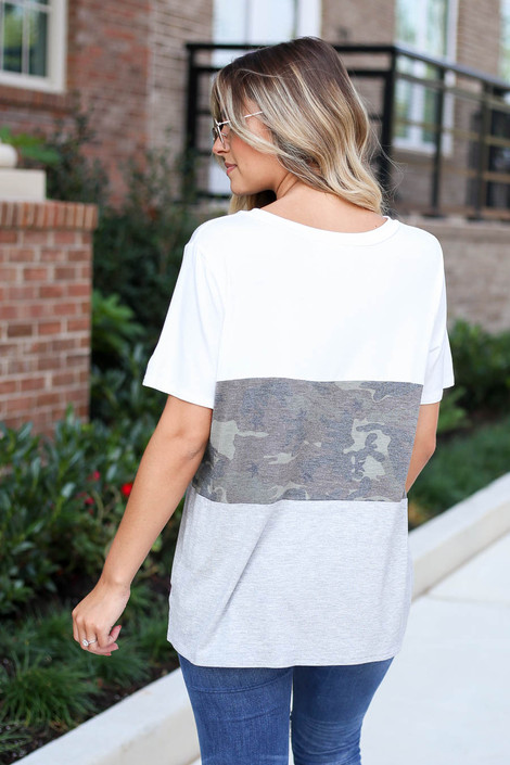 Model wearing Heather Grey Color Block Camo Top Back View