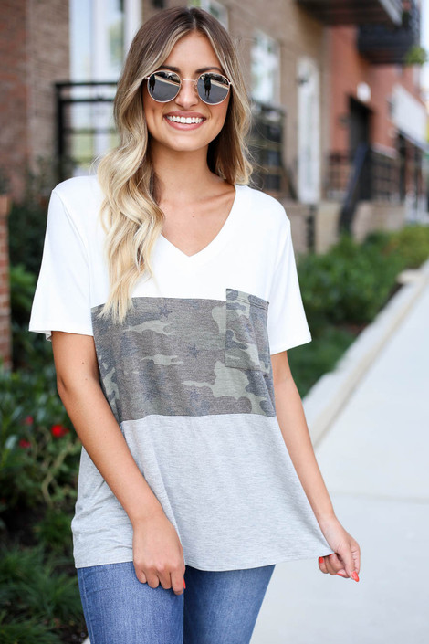 Heather Grey - Color Block Camo Top