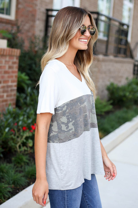 Model wearing Heather Grey Color Block Camo Top Side View
