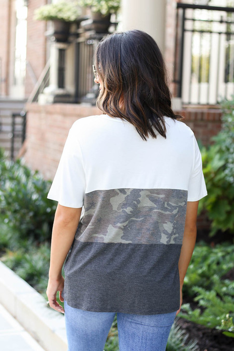 Model wearing Charcoal Color Block Camo Top Back View