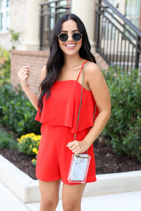 Model wearing Red Bre Flounce Romper Front View