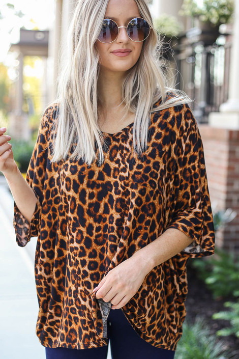 Model wearing Leopard Oversized Print Top Front View