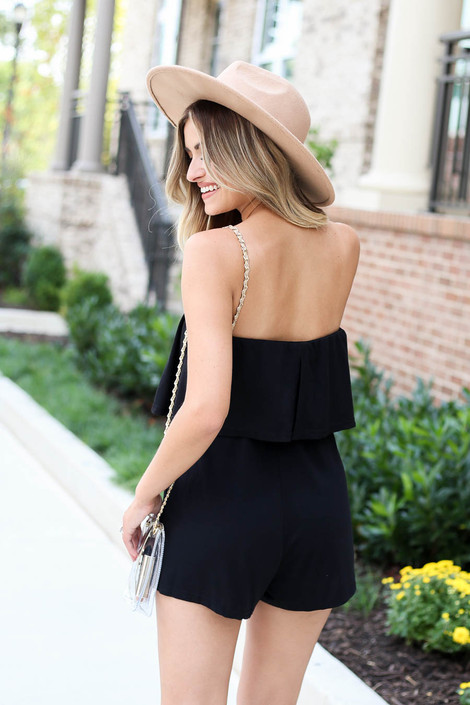 Model wearing Black Amelia Strapless Romper Back View