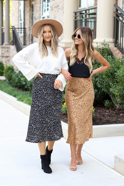 Models wearing Black and Mocha Spotted Midi Skirts