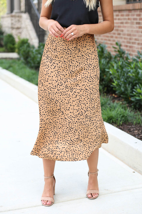Mocha - Spotted Midi Skirt Detail View