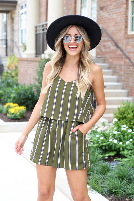 Model wearing Olive Striped Jumpsuit Front View