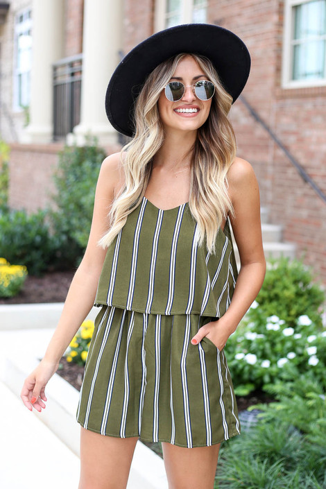 Olive - Striped Jumpsuit