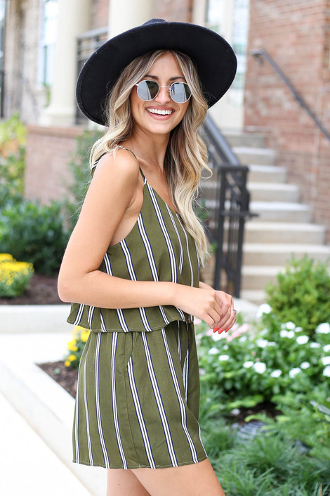 Model wearing Olive Striped Jumpsuit Side View
