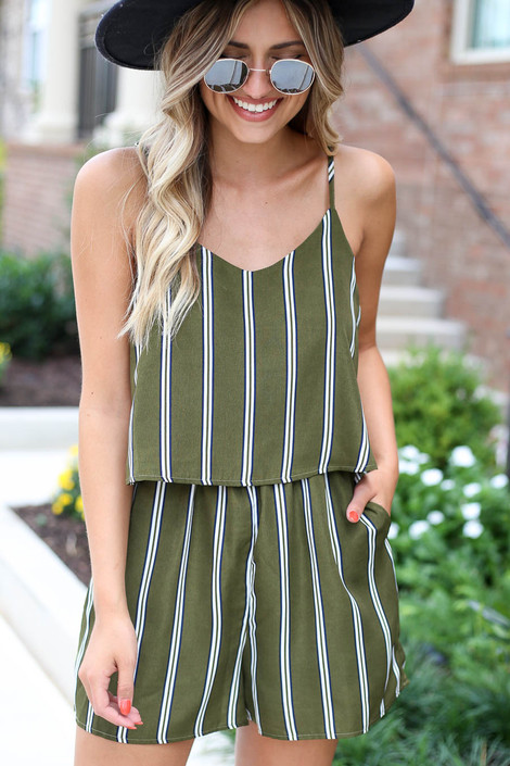 Model wearing Olive Striped Jumpsuit Detail View