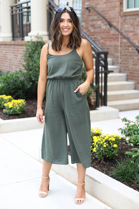 Olive - Cropped Tie-Back Jumpsuit