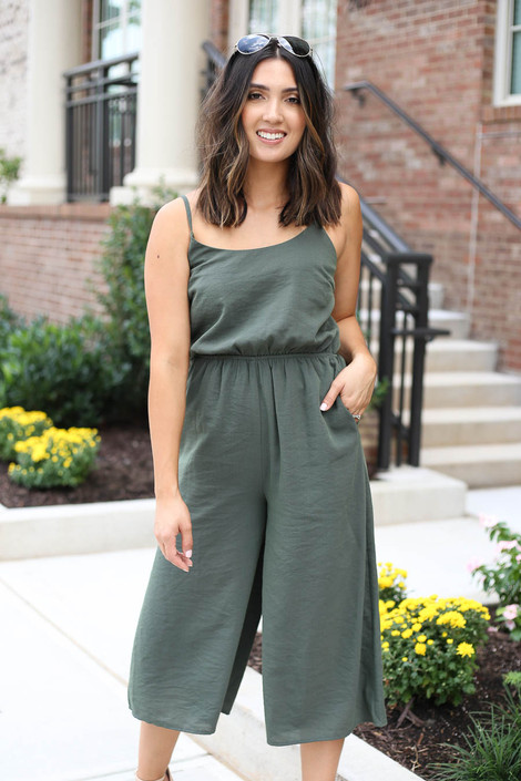 Model wearing Olive Cropped Tie-Back Jumpsuit