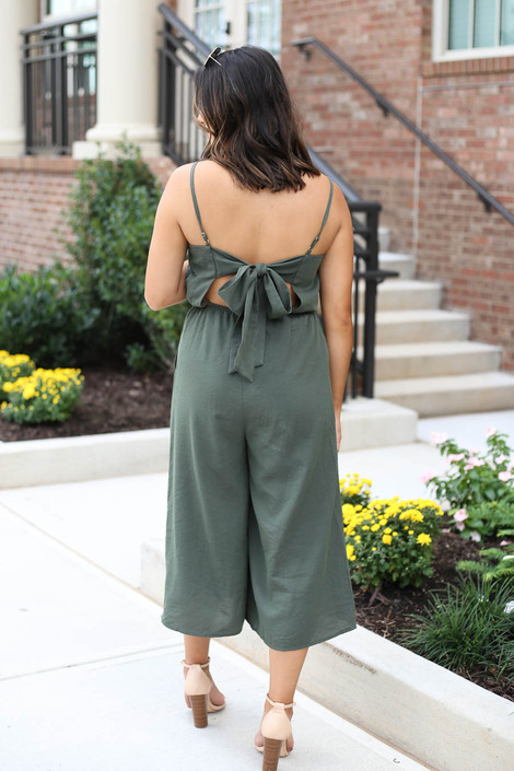 Olive - Cropped Tie-Back Jumpsuit Back View