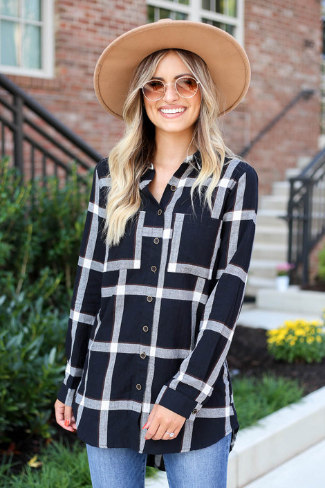 Black - and White Lightweight Flannel Top