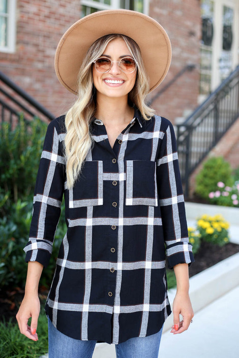 Model wearing Black and White Lightweight Flannel Top Buttoned Up