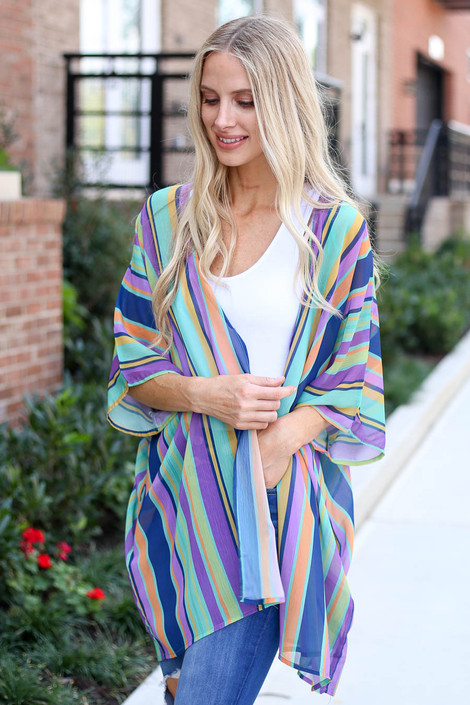 Model wearing Purple Multi-Stripe Sheer Kimono Front View