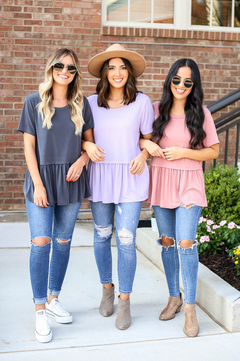 Charcoal - Blush, and Lilac Oversized Babydoll Top