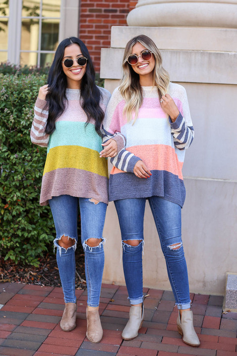 Models wearing Grey + Ivory Color Block Lightweight Sweater