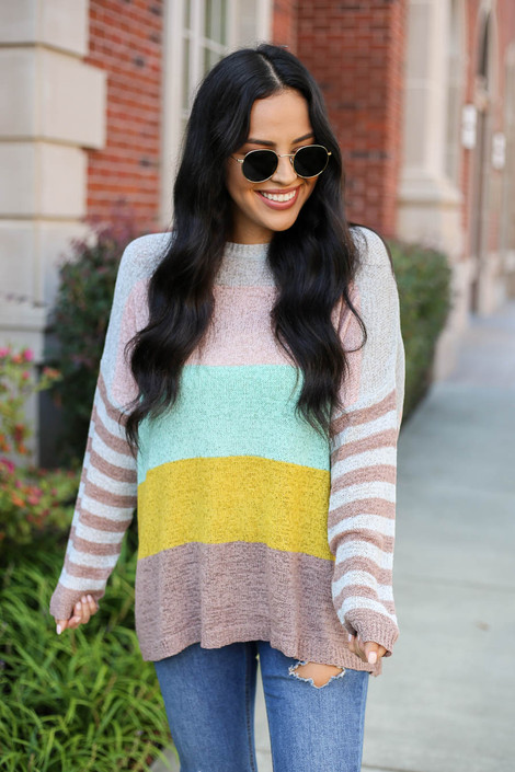 Grey - Color Block Lightweight Sweater