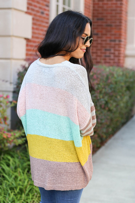 Model wearing Grey Color Block Lightweight Sweater Back View