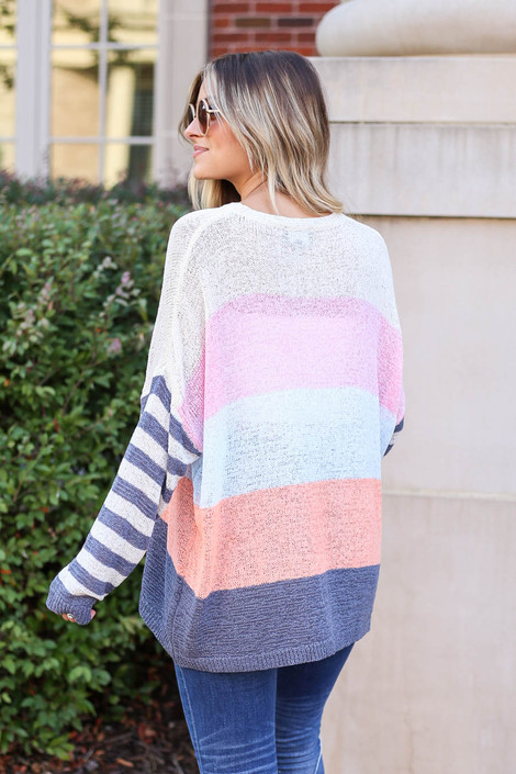Model wearing Ivory Color Block Lightweight Sweater Back View