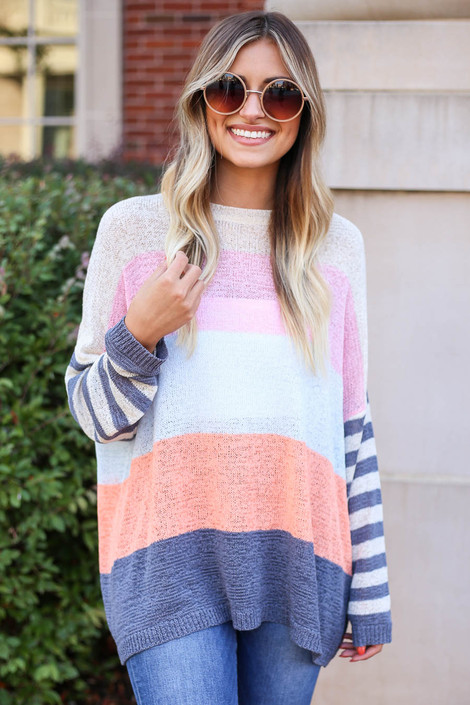 Model wearing Ivory Color Block Lightweight Sweater Front View