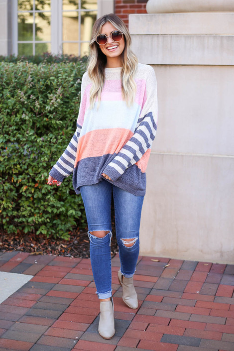 Ivory - Color Block Lightweight Sweater Full View