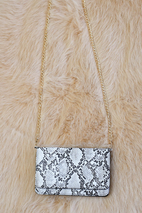 Snake - Snakeskin Clutch with Gold Chain